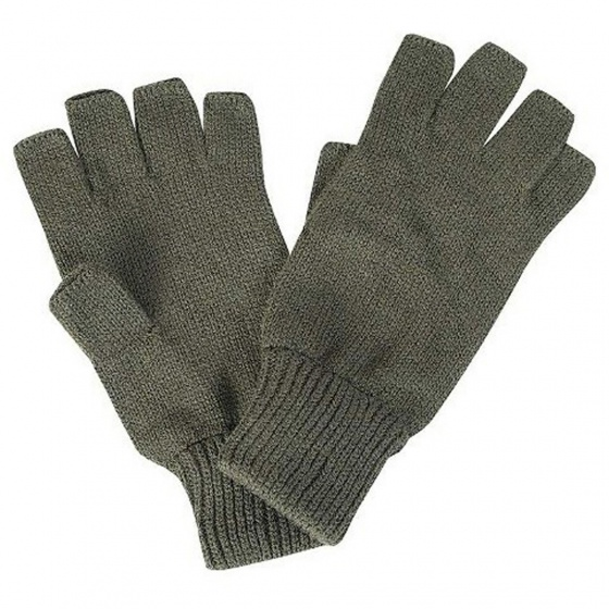 Acrylic Knitted Fingerless Gloves Olive